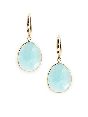 Quartz & 14K Yellow Gold Drop Earrings