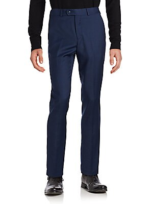 Plaid Wool-Blend Dress Pants