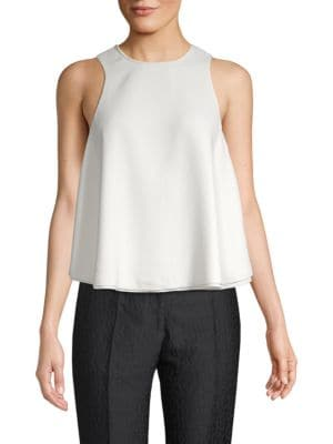 Strellson Matte Crepe Leather-Trim A-Line Top