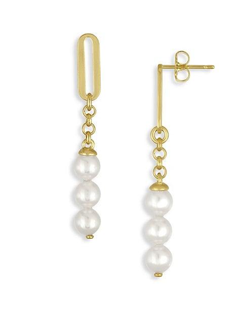 6MM Organic Organic Pearl Linear Drop Earrings