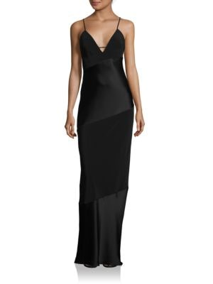 Abs By Allen Schwartz Bias Cut Deep V-Neck Slip Gown
