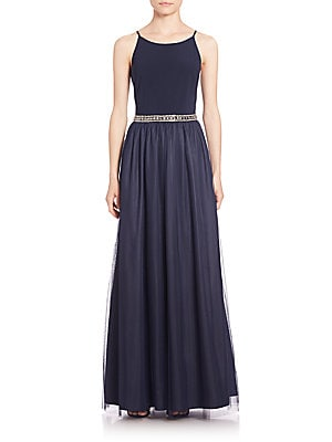 Embellished Combo Bridesmaid Gown