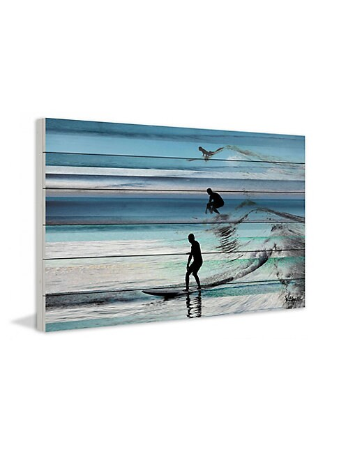 Wave Jumping White Wood Print