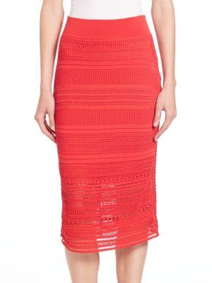 OHNE TITEL Crochet Skirt in Red