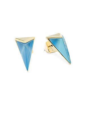 Lucite 10K Gold-Plated Stud Earrings