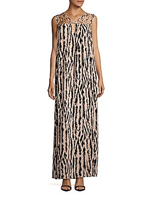 Animal Printed Strappy Gown