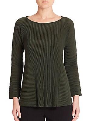 Fine Gauge Merino Ribbed Peplum Sweater