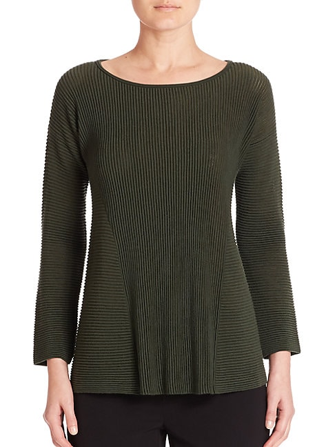 Fine Gauge Merino Ribbed Peplum Sweater