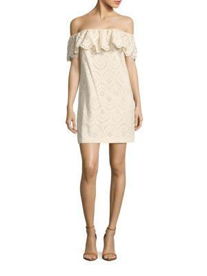CYNTHIA STEFFE Off-The-Shoulder Cotton Eyelet Shift Dress in Palm Sugar