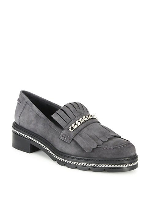 Bmoc Chain & Suede Kilt Loafers