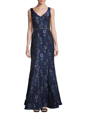 Js Collections  Jacquard Sleeveless Gown