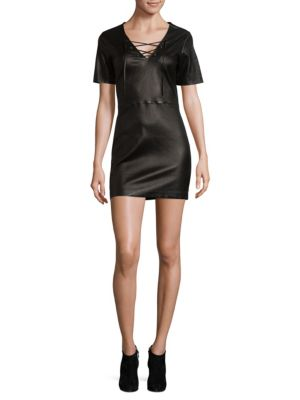 THEPERFEXT Amber Leather Lace Up Dress in Black