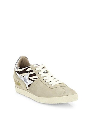 Guepard Calf Hair Zebra Print Wedge Sneakers