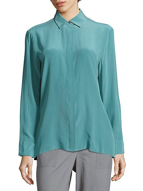 Long-Sleeve Silk Shirt