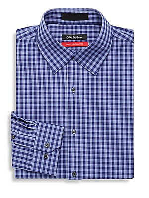 Trim-Fit Tonal-Check Gingham Dress Shirt