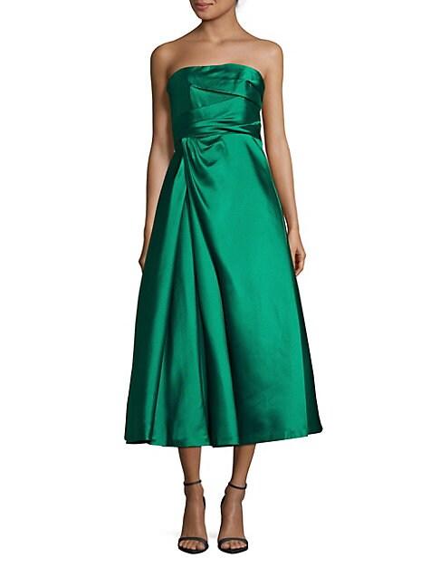 Solid Straight-Across Tea-Length Dress