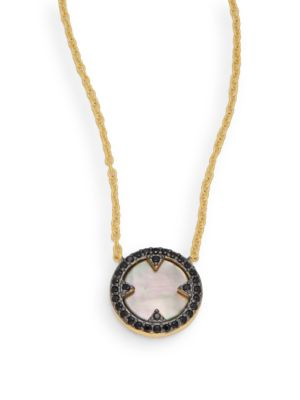 Freida Rothman  Slated Noir Cubic Zirconia, Mother-Of-Pearl & 14K Gold-Plated Sterling Silver Pendant Necklace