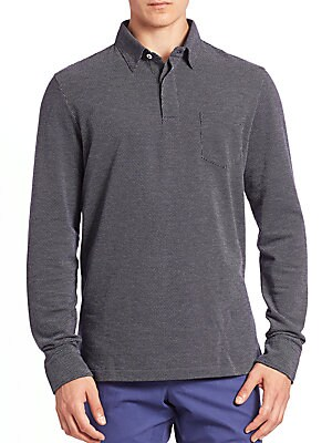 Long Sleeve Dotted Polo