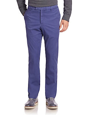 Solid Washed Flat-Front Pants