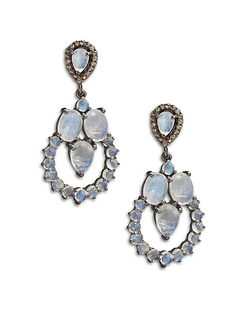 Diamond & Moonstone Drop Earrings