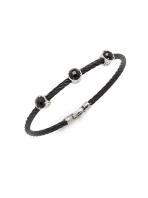 Alor  Stainless Steel Triple Onyx Bracelet