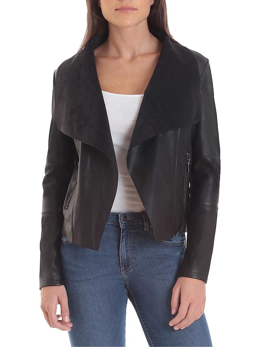 Women's Open Front Faux Leather Jacket