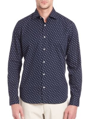 Saks Fifth Avenue  Printed Long Sleeve Shirt