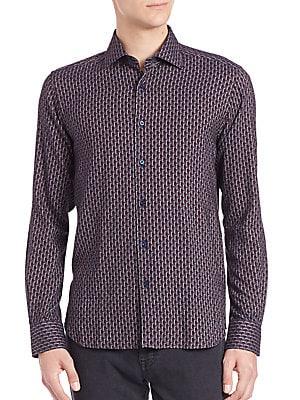 Geometric Print Button Shirt