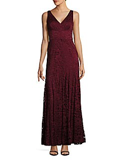 Vera Wang V-Neck Lace Womens Gown