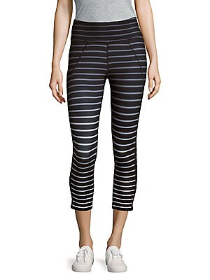 Ombre-Stripe Cropped Leggings