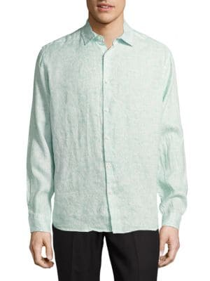 Saks Fifth Avenue  CASUAL PAISLEY-PRINT LINEN BUTTON-DOWN SHIRT