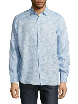 Saks Fifth Avenue  Floral-Print Casual Button-Down Linen Shirt