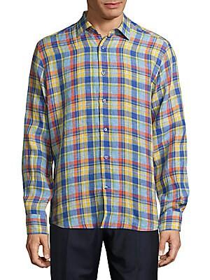 Windowpane Plaid Linen Shirt