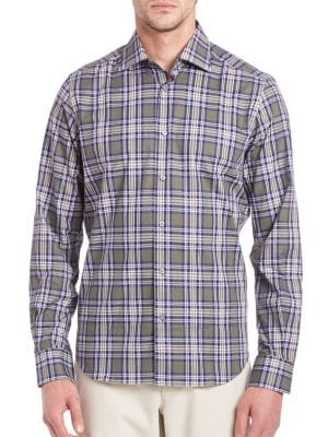Saks Fifth Avenue  Windowpane Plaid Shirt