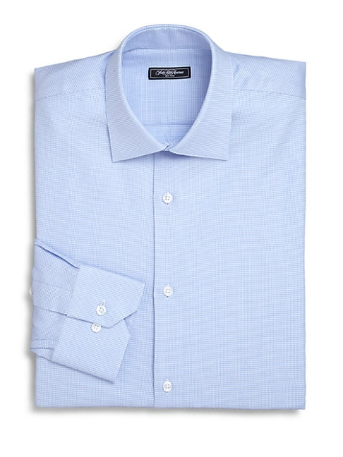 Trim-Fit Micro Houndstooth Dress Shirt