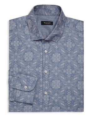 SAND Paisley Print Dress Shirt in Blue White