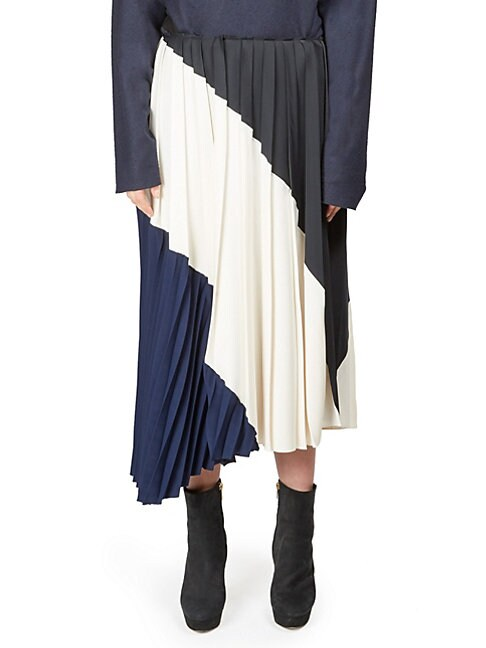 C DRIC CHARLIER | Asymmetrical Pleated Skirt | Goxip