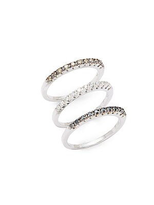 White Diamond, Black Diamond, Espresso Diamond & 14K White Gold Stackable Rings