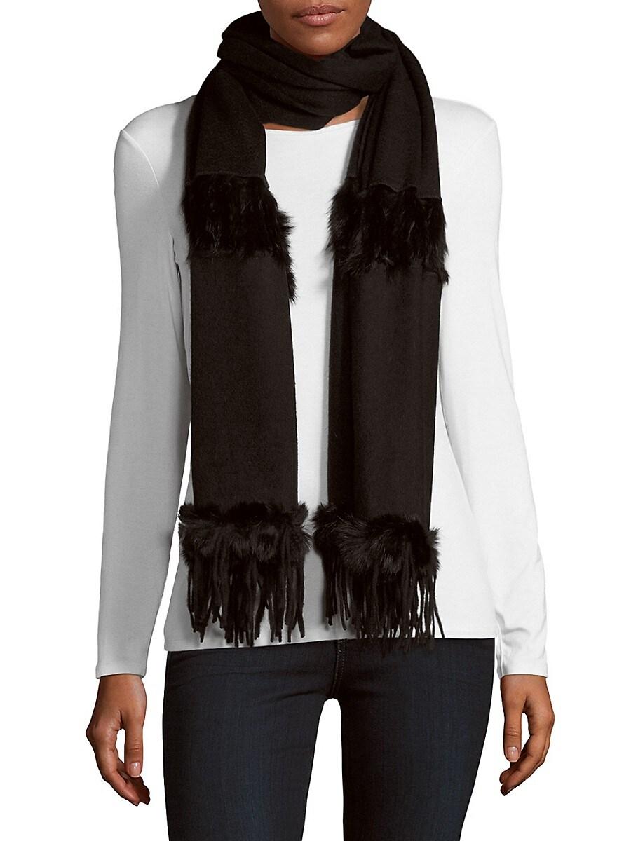 Women's Rabbit Fur & Wool Scarf