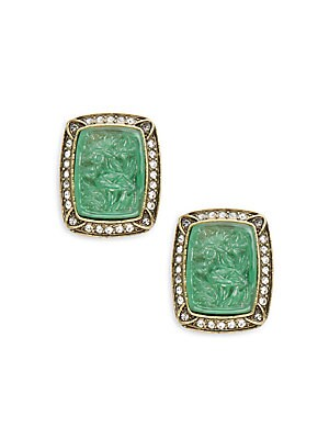 Asian Carving Glass & Crystal Earrings
