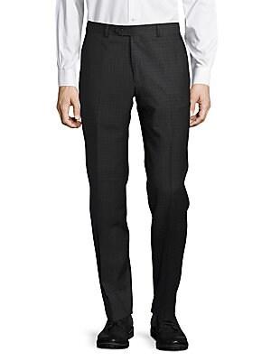 Shadow-Plaid Wool Pants