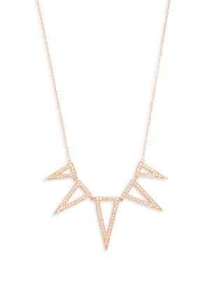 Ef Collection  Diamond & 14K Rose Gold Triangle Necklace