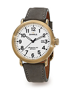 Shinola - Runwell Goldtone PVD Stainless Steel & Leather Strap Watch