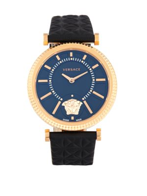 Versace V-Helix Stainless Steel & Leather Strap Quartz Watch, Black