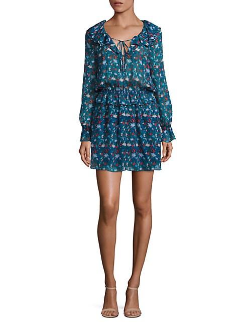 Silk Ruffle Floral-Print Dress