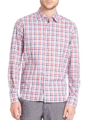 Saks Fifth Avenue  Button-Front Checked Shirt