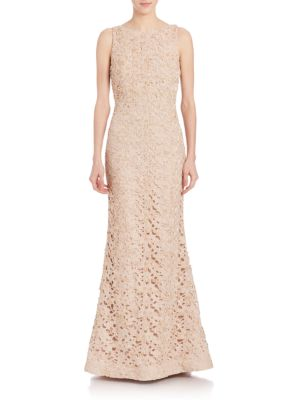Alice And Olivia Linings Kacie Embroidered Open Back Gown
