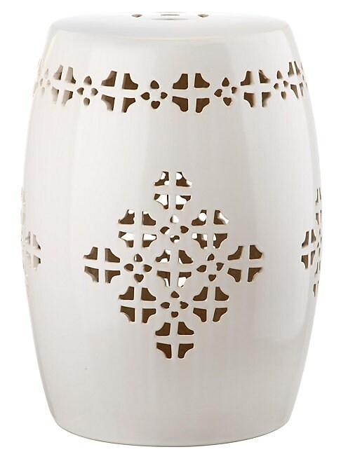 Safavieh Quatrefoil Glazed Ceramic Stool In Cream