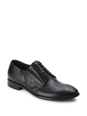 JO GHOST Textured Leather Derby Shoes in Black