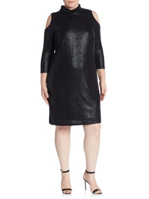 Abs By Allen Schwartz Plus Textured Cold-Shoulder Turtleneck Dress